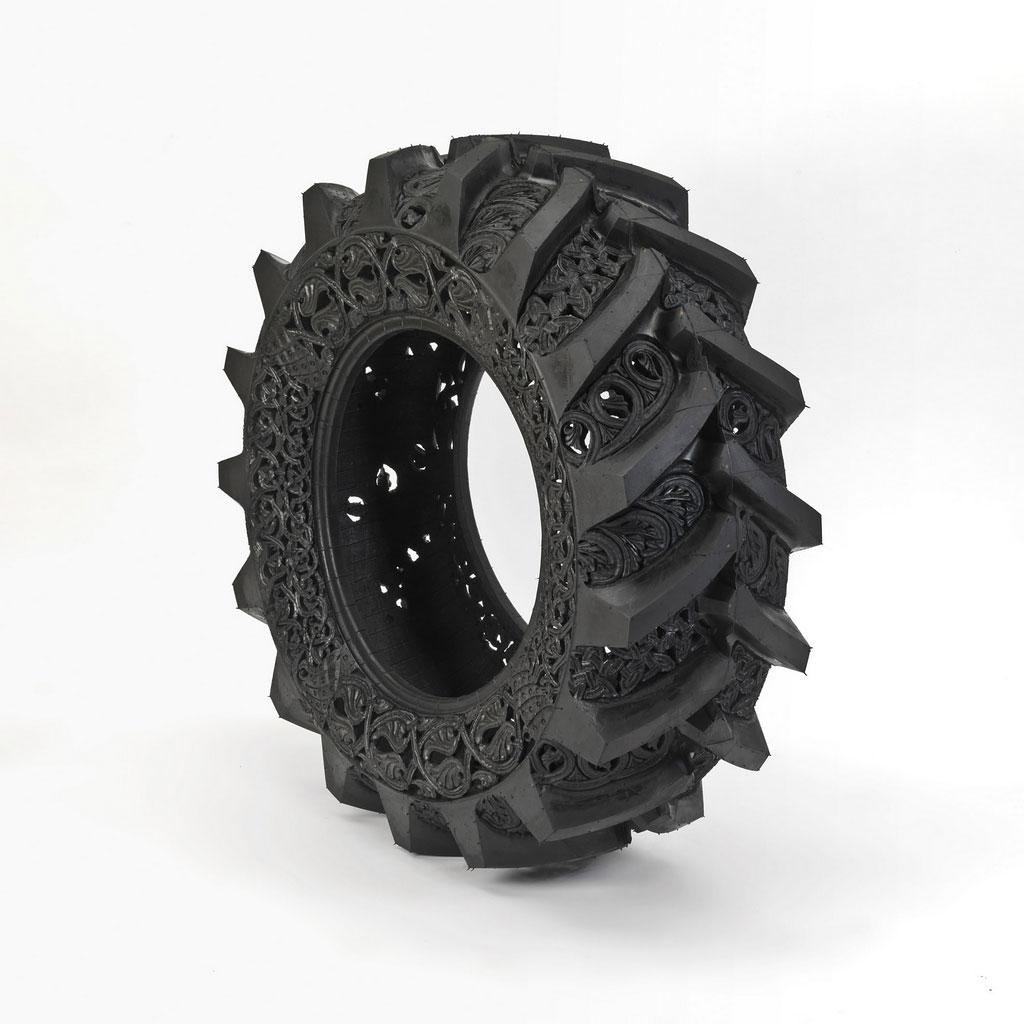 pigskin tires anything goes by wim delvoye artstormer. Black Bedroom Furniture Sets. Home Design Ideas