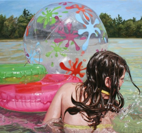 artstormer, laura sanders, art, painting, swimming paintings, realism
