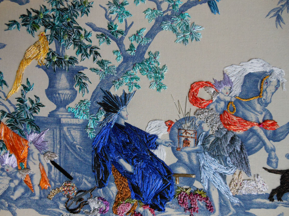 Toile embroidery art by richard saja artstormer