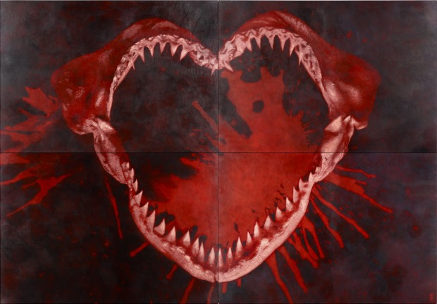 021115-Evans-I-Heart-U-Hand-etched-by-knife-on-leather-250cm-x-360cm-2011